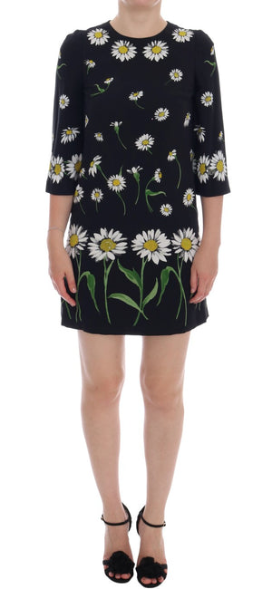Black Chamomile Viscose Stretch Dress