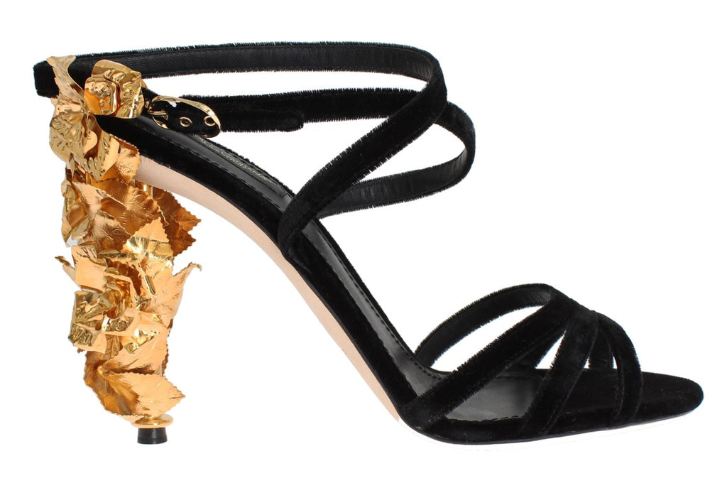 Black Velvet Gold Leaf Sandal Shoes