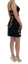 Black Wool Stretch Gold A-Line Dress
