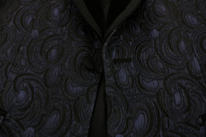 Blue Black Jacquard Slim Fit Blazer Jacket