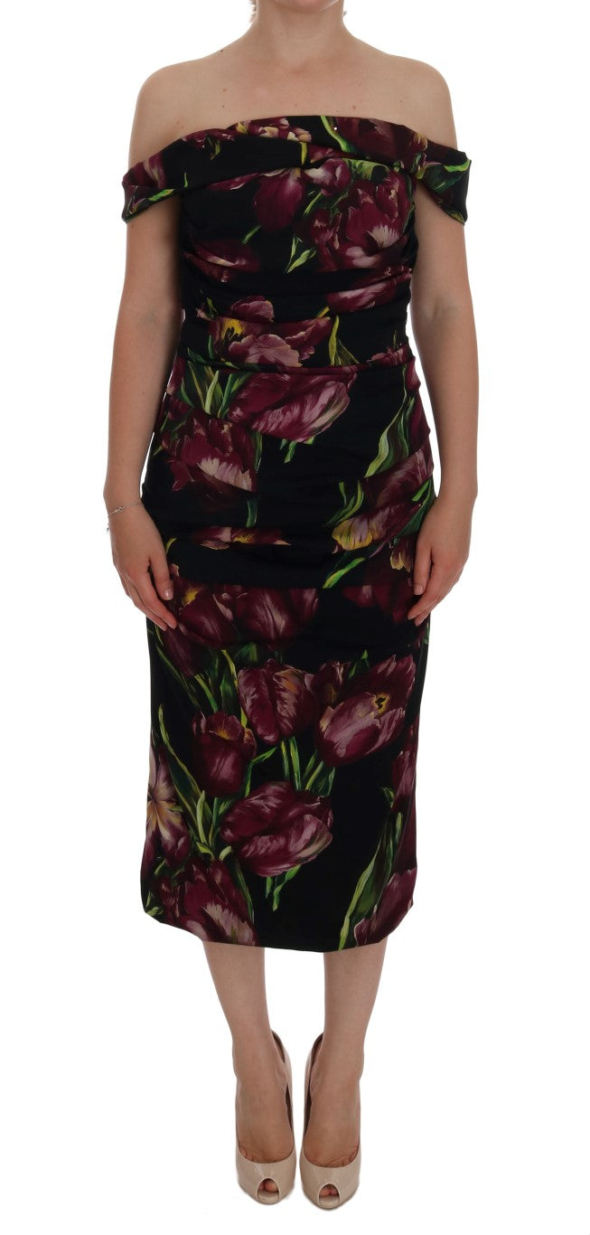 Black Silk Stretch Purple Tulip Dress