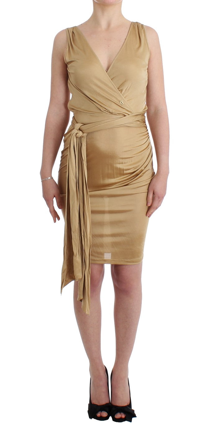Beige wrap cocktail dress