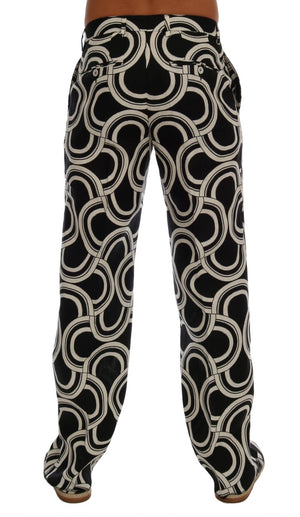 Black White Pattern 100% Linen Pants