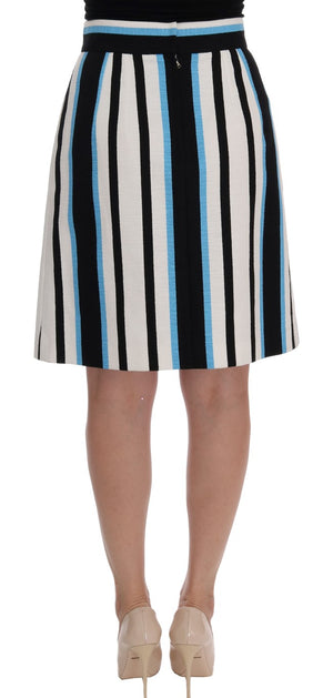White Black Blue Striped Cotton Skirt