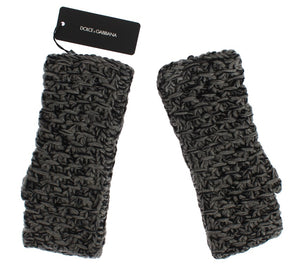 Gray Wool Cashmere Finger Free Knitted Gloves