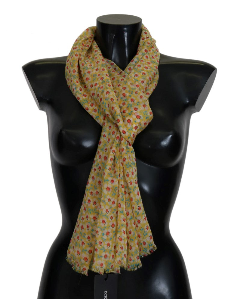 Yellow Silk Floral Scarf