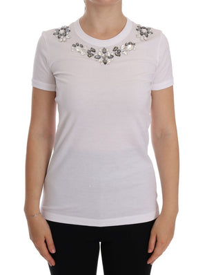 White Cotton Crystal Flowers T-shirt