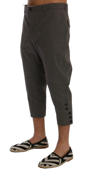 Gray Cotton Stretch Capri Pants