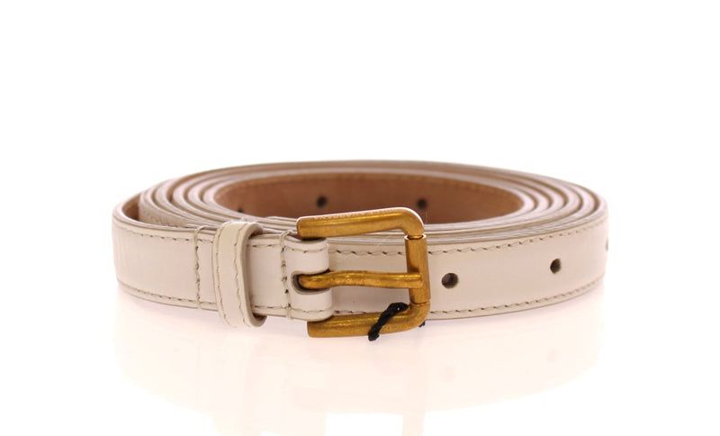 White Leather Skinny Belt