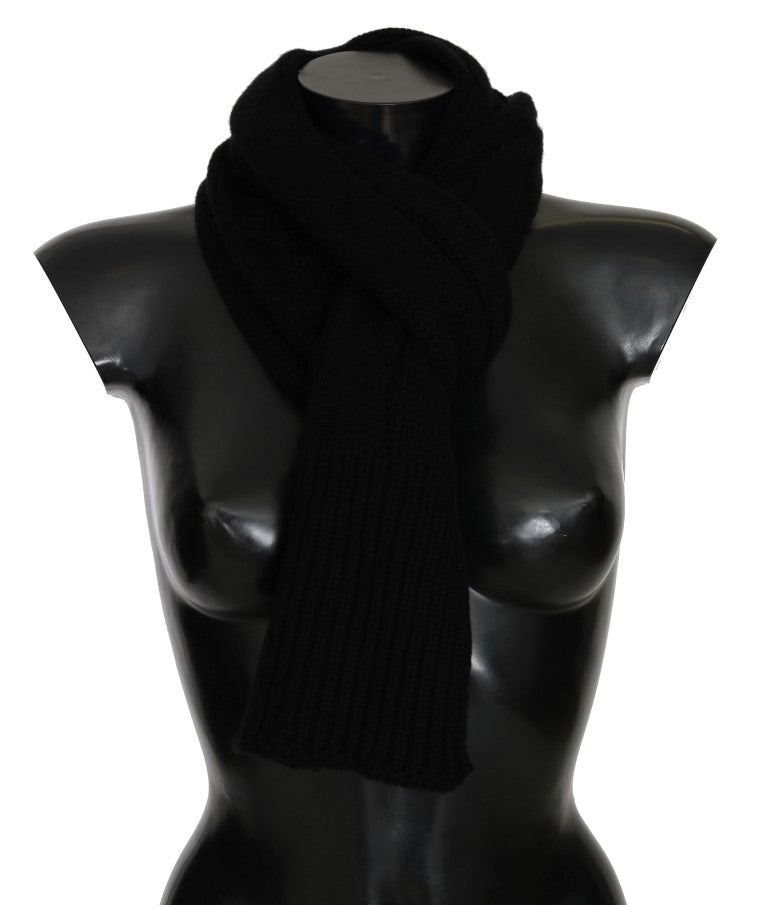 Black Cashmere Knitted Scarf