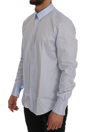 Light Blue Cotton Dress Shirt Trend Slim Fit