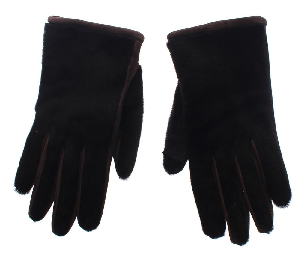 Brown Kangaroo Lambskin Fur Suede Wrist Gloves