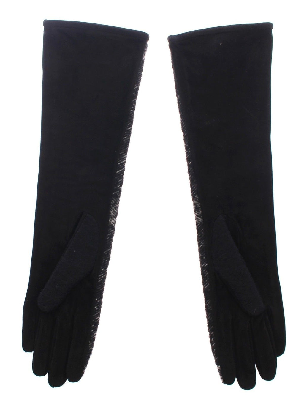 Black Lambskin Leather Wool Elbow Gloves Silk