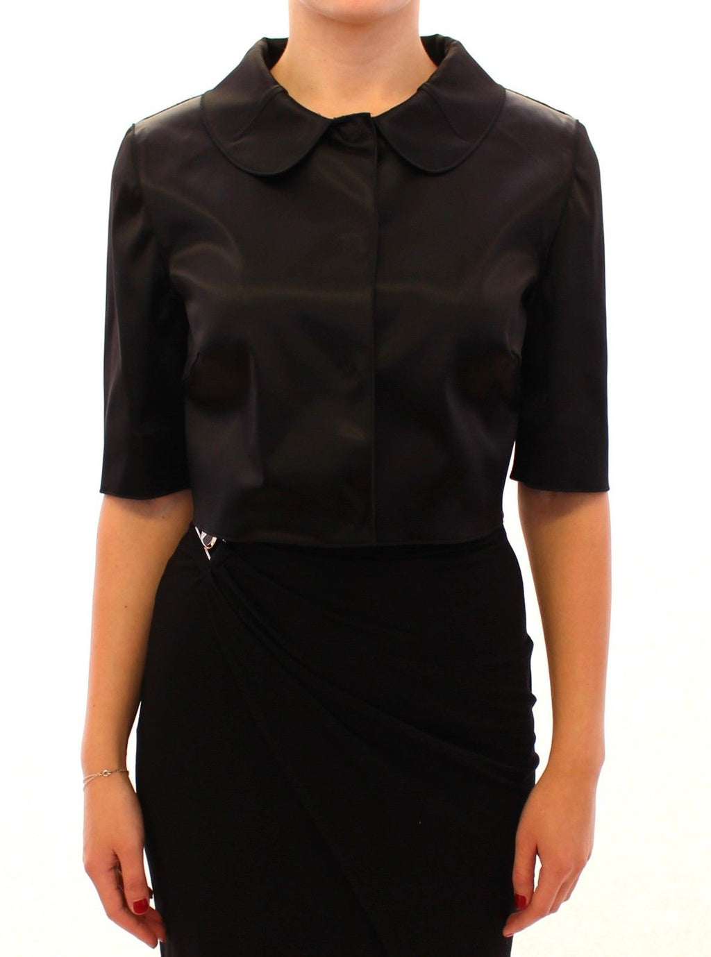 Black Shiny Stretch Bolero Shrug Jacket