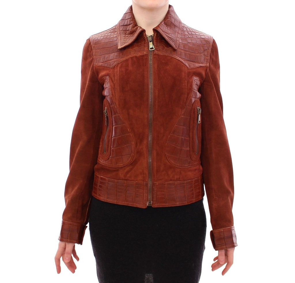 Brown Alligator Suede Leather Jacket - ShaShaStyles