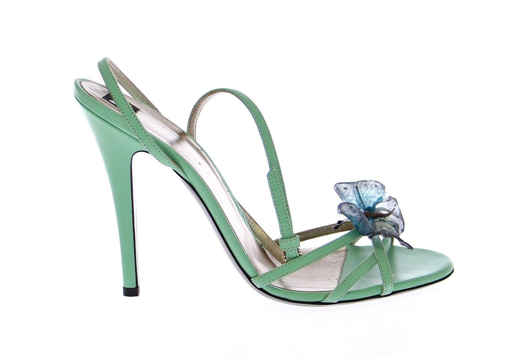 Green Strappy Leather Pumps Shoes