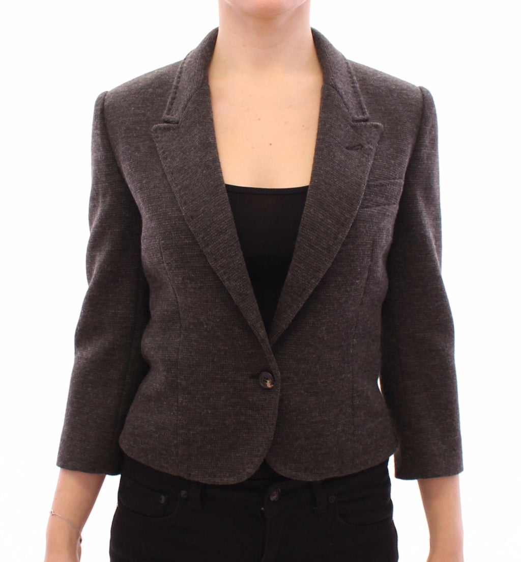 Gray Wool One Button Jacket Blazer Coat