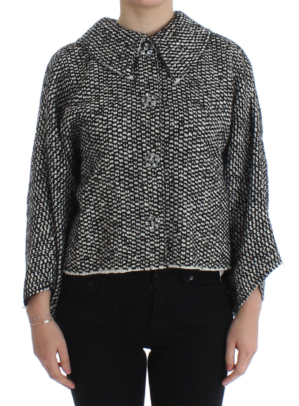 Black White Tweed Crystal Jacket Coat