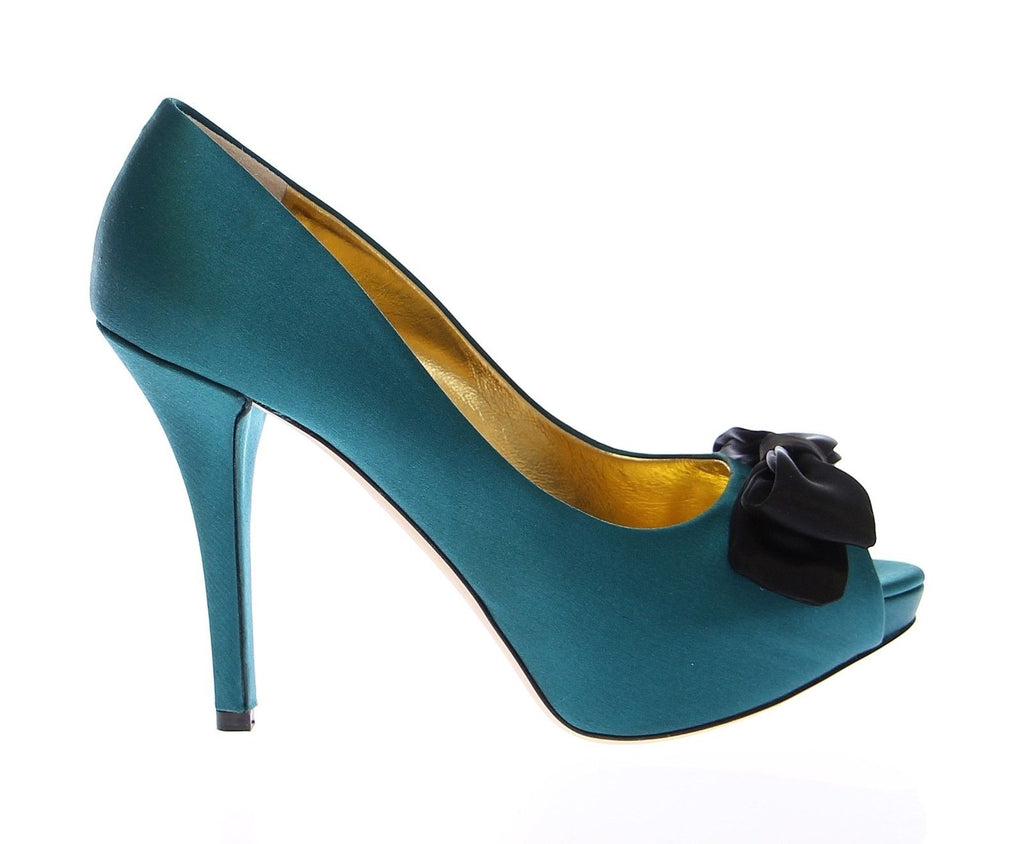 Blue Silk Platform Open Toe Pumps Shoes