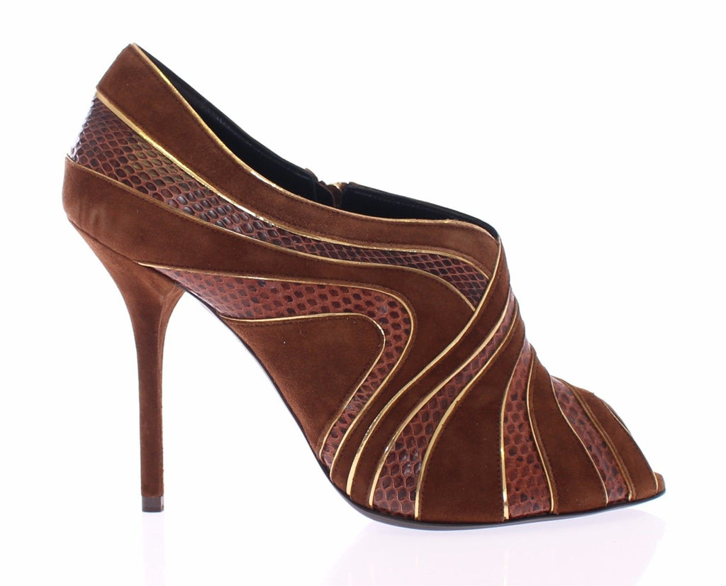 Brown Suede Snakeskin Open Toe Pumps Shoes