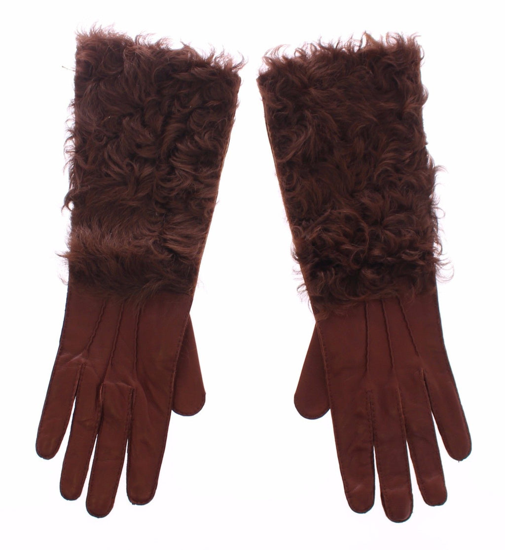 Brown Lambskin Fur Leather Wrist Gloves Silk