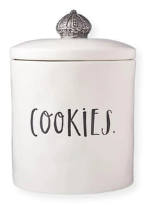 Rae Dunn Stem Print Crown Cookie Jar