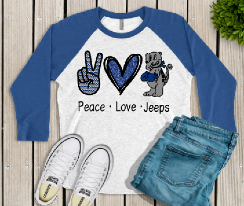 Peace Love Jeeps Raglan