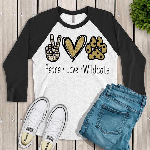 Peace Love Wildcats Raglan