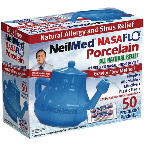 NasaFlo Neti Pot Porcelain with 50 Packets