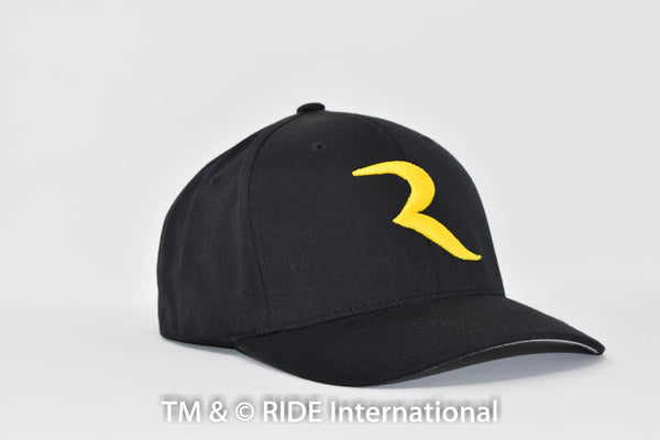 "Golden ""R"" Black Flex Hat – RIDE International Apparel"