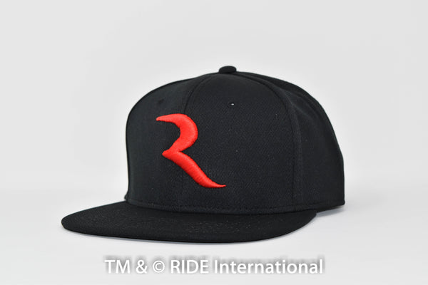 "The ""R"" Black (Cool Comfort- Snap Back) Hat – RIDE International Apparel"