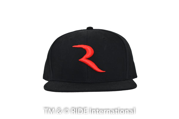 "The ""R"" Black Hat (snap back) Hat – RIDE International Apparel"