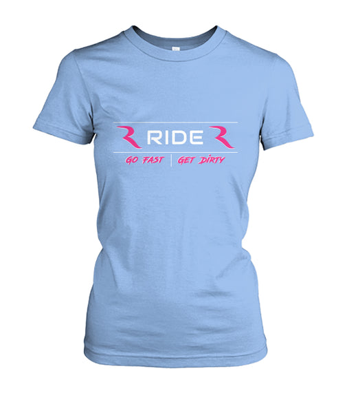 Go Fast Get Dirty (Baby Blue) Women's Fitted Premium T-Shirt – RIDE International Apparel