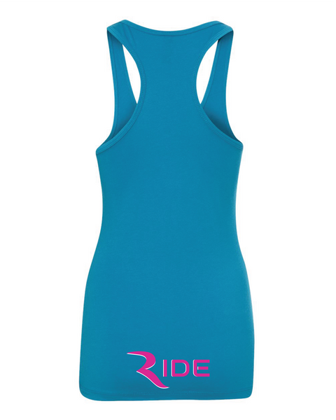 RIDE On Top Women's (2 Sided) Turquoise Racerback Tank – RIDE International Apparel