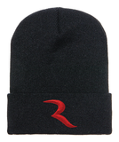 "Signature Red ""R"" Black Beanie – RIDE International Apparel"