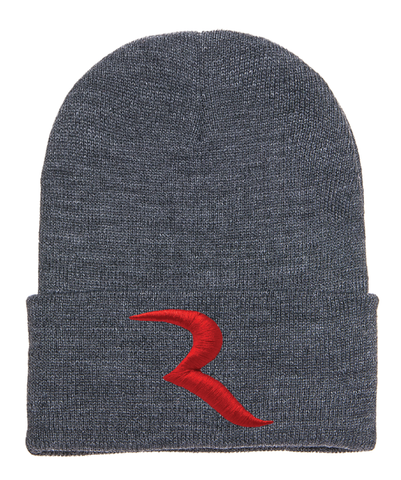 "Signature Red ""R"" Dark Grey Beanie – RIDE International Apparel"