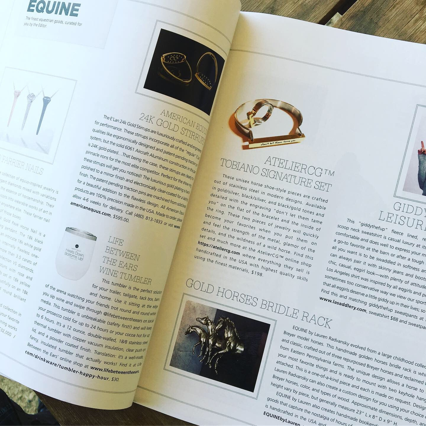 AtelierCG - Tobiano Signature Set featured at EQ AM Magazine