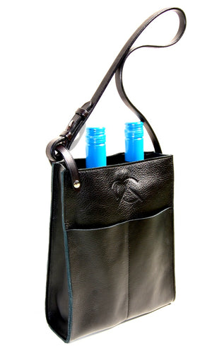 PAGE LEATHER TOTE in black | Equestrain Bag | Leather Wine Carrier | 2 bottle Tote - AtelierCG™