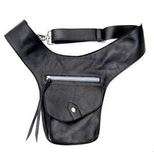 RIDE HOLSTER in black | Equestrian Leather Bag | Holster Bag For Phone and Wallet | Waist Bag - AtelierCG™