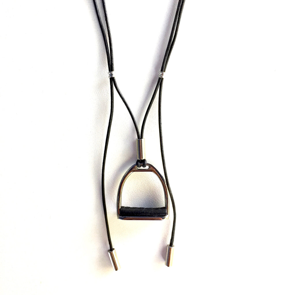 PRUSSIAN LEATHER NECKLACE  | BLACK | Equestrian Jewelry | Stirrup Necklace - AtelierCG™