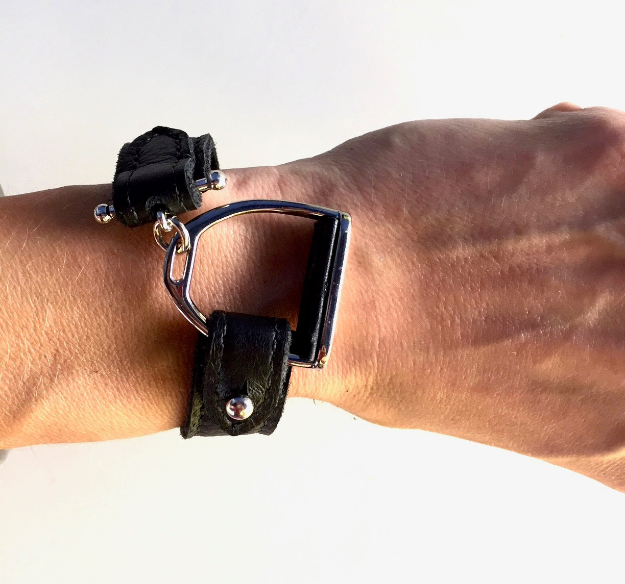 APOLLO  | BLACK | Equestrian leather bracelet | Leather Wrap | Stirrup Leather Cuff - AtelierCG™