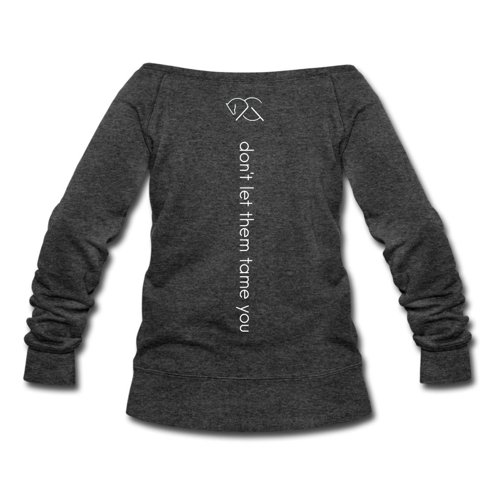 STAY WILD | Wide Neck Sweatshirt - ATELIERCG™ - heather black