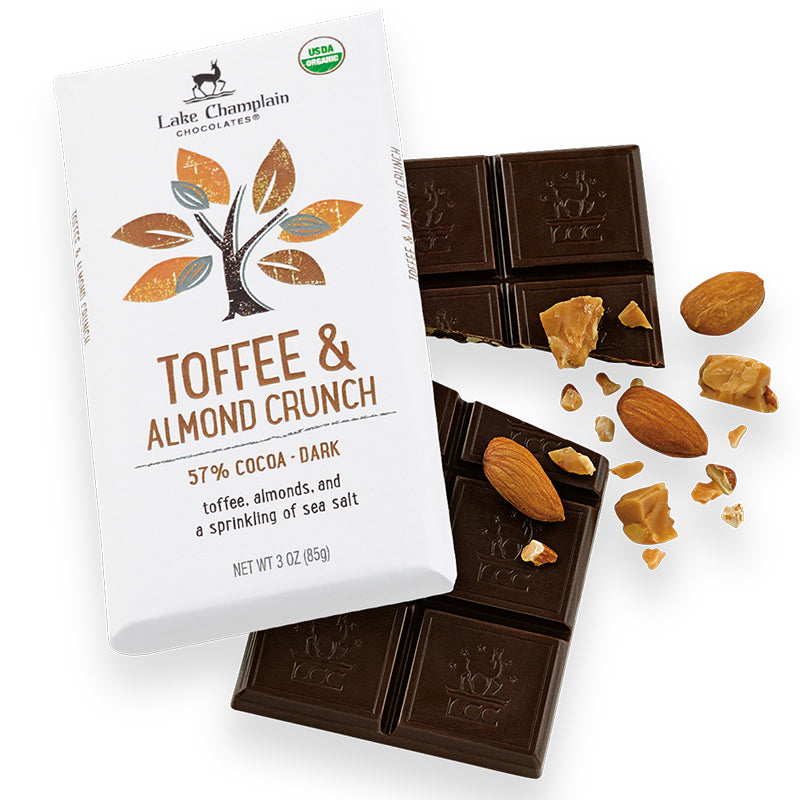 Toffee & Almond Crunch Organic Chocolate Bar