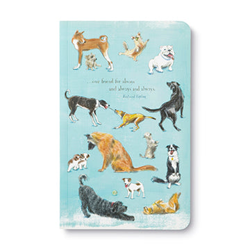 "The Write Now Journal line features beautiful design, modern typography, bold sentiments, striking artwork, and periodic typeset quotations—with plenty of lined pages to capture the day's thoughts, musing, and prose.  Dogs are our happiness makers—and this journal celebrates all the joy and delight they bring to each day.  Softcover 8""H X 5""W 128 lined pages Printed with soy ink on FSC®-certified paper"