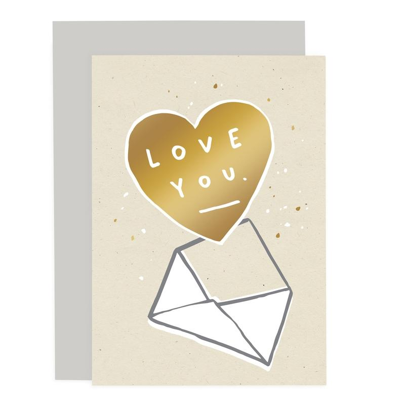 Valentine's Day Card- Love You Envelope Speckle