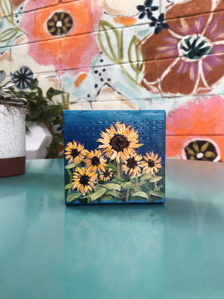 Sunflower Painting with Dark Blue Sky