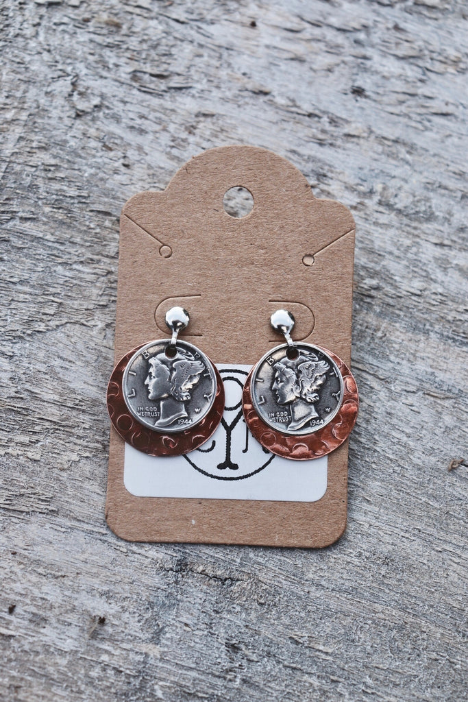 'Copper Dime Earrings'-Old Yankee Coin