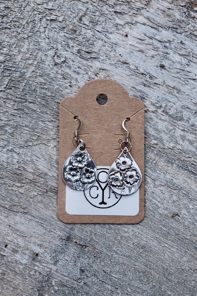 'Flower Teardrop Earrings'-Old Yankee Coin