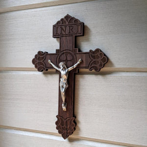 Standard wooden crucifix with the Pardon Design from the Catholic Woodworker