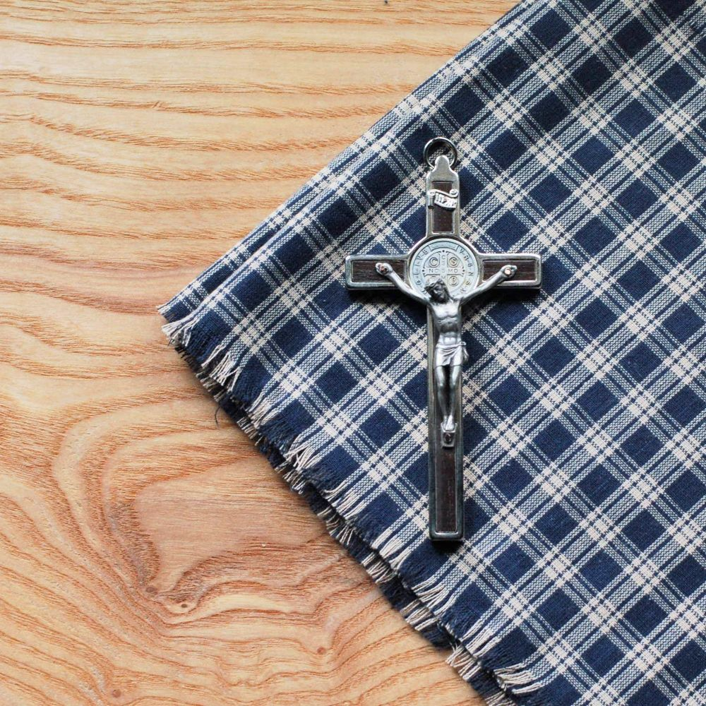 Handmade Italian small wall crucifx with St. Benedict design from The Catholic Woodworker